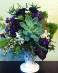 Succulent, Scabiosa, sword fern, and other natural greens
